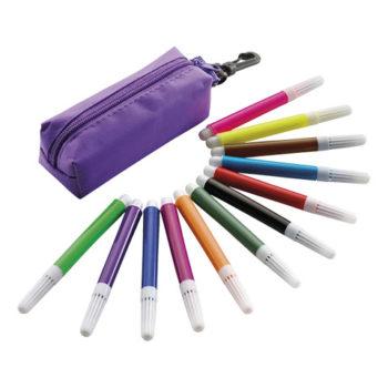 12 Piece Felt Tip Pen Set In Zippered Pouch