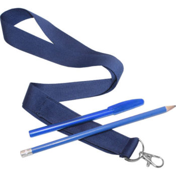25Mm Unbranded Lanyard With Unbr Pencil+Pen