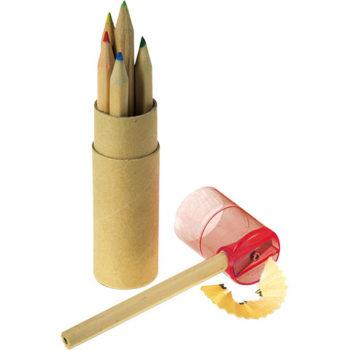 Coloured Pencil Set with Sharpener - Set of 6