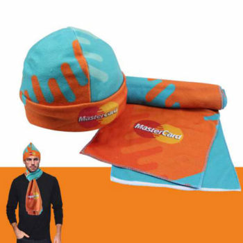 Fleece Beanie And Scarf Set With Full Colour Edge To Edge Sublimation Print