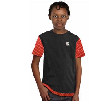 Junior Unisex Crew Neck T-Shirt With Shweshwe Sleeves Hem And Sleeves