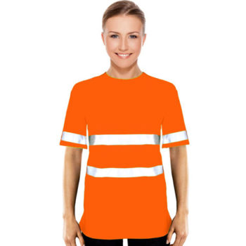 Ladies Jesny Moisture Management Crew Neck Safety T-Shirt With Reflective Strips