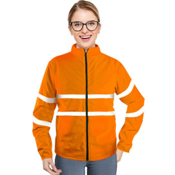 Ladies Safety Zip Up High Visibility Mesh Jacket With Reflective Strips