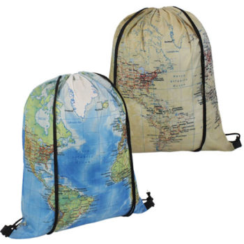 Map Drawstring Bag