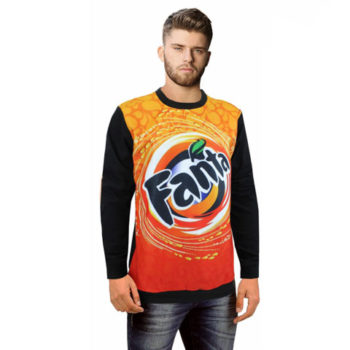 Mens Bentlee Fleece And Cotton Sweater With Sublimation Print On Front Only