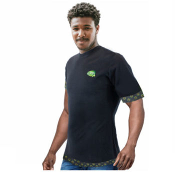 Mens Crew Neck T-Shirt With Shweshwe Trimming