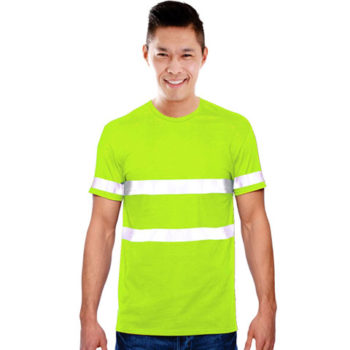 Mens Jesny Moisture Management Crew Neck Safety T-Shirt With Reflective Strips