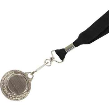 Silver Medal-Dome+Screen Printed Ribbon With 1 Col