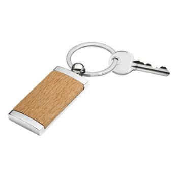 Wooden Keychain With Metal Trim